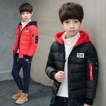 Модные подростковые корейские пальто с подкладкой для мальчиков зимняя коллекция 2020 года черная куртка с капюшоном детская хлопковая верхняя одежда для подростков