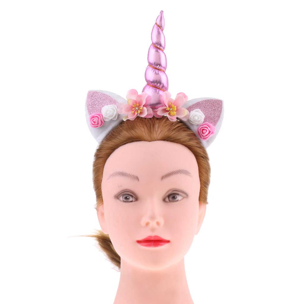 Комплект из 2 предметов; Розовая Повязка на голову с рогом единорога и цветочным принтом для девочек; нарядное праздничное платье с вуалью