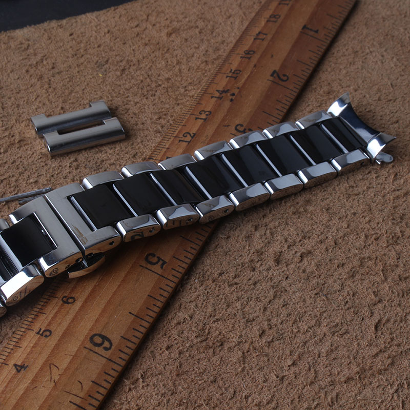 Stainless Steel Watch Band Bracelet 20mm 22mm Solid Stainless Steel Silver with black Watchbands Straps Accessories curved ends