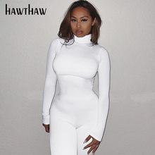 Hawthaw femmes automne hiver à manches longues moulante couleur unie col roulé combinaison barboteuse combishort 2020 Famale vêtements Streetwear