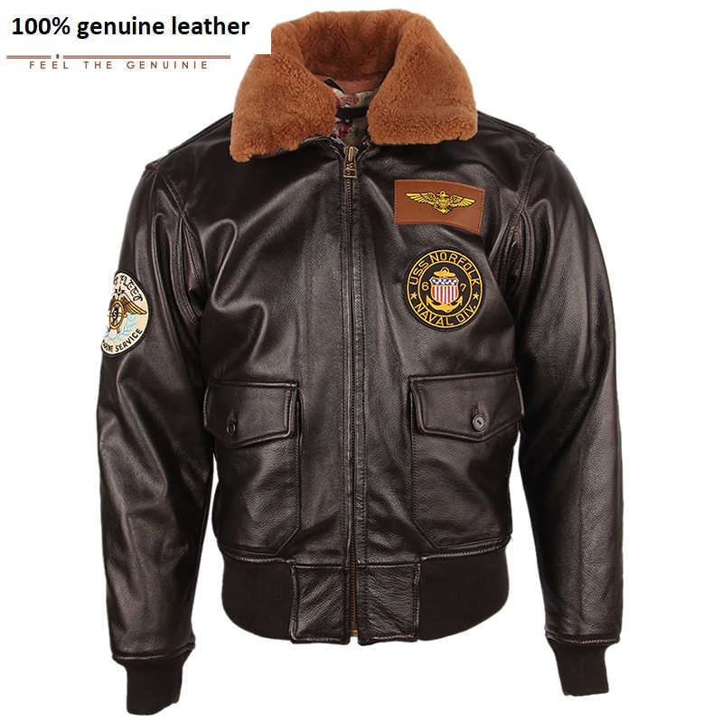 Männer Leder Jacke Dicken 100% Kalbsleder Stepp Natürliche Pelz Kragen Vintage Distressed Leder Jacke Männer Warme Winter Mantel M253