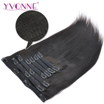 YVONNE Light Yaki Human Hair Clip In Hair Extensions Brazilian Virgin Hair Natural Color 7 Pieces 120g/set