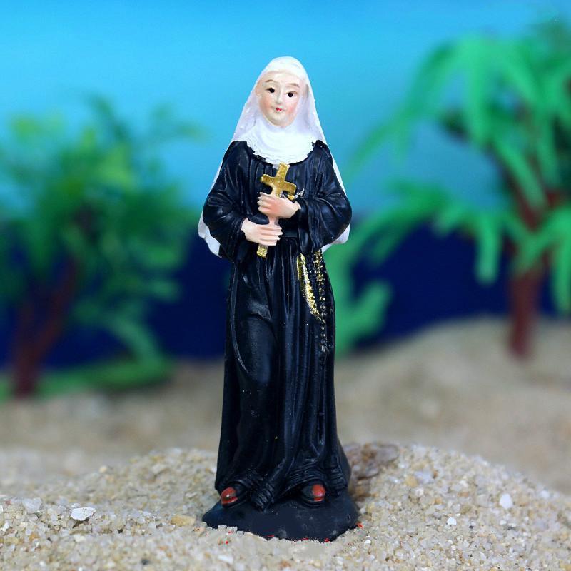 Resin Model Virgin Mary Statue Figurine Handicraft Ornament Decor 2*1.7*6.7cm