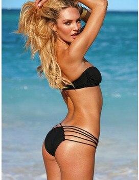 Black Sexy Bikini Mini Push Up Swimwear Women Multi-Lanyard Hollow Out Triangle Bikini Thong Biquinis 2020 Mujer Bathing Suit 2