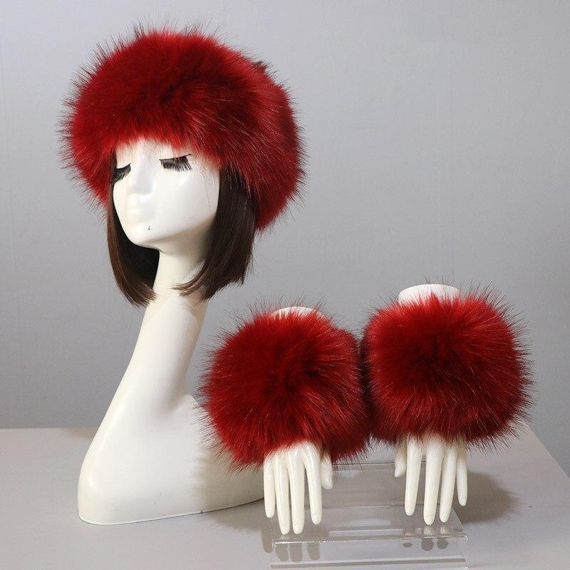 Faux Fur Headbands And Cuffs Set Autumn Winter Coat Jacket Fur Cuffs Fluffy Fuzzy Fur Headband And Cuffs Head Hair Accessories