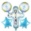 1 шт., пасхальный крестик крещение, Декор, фольгированные шары, для мальчиков и девочек, пятиконечность, Иисус, Крещение, день рождения, вечер...