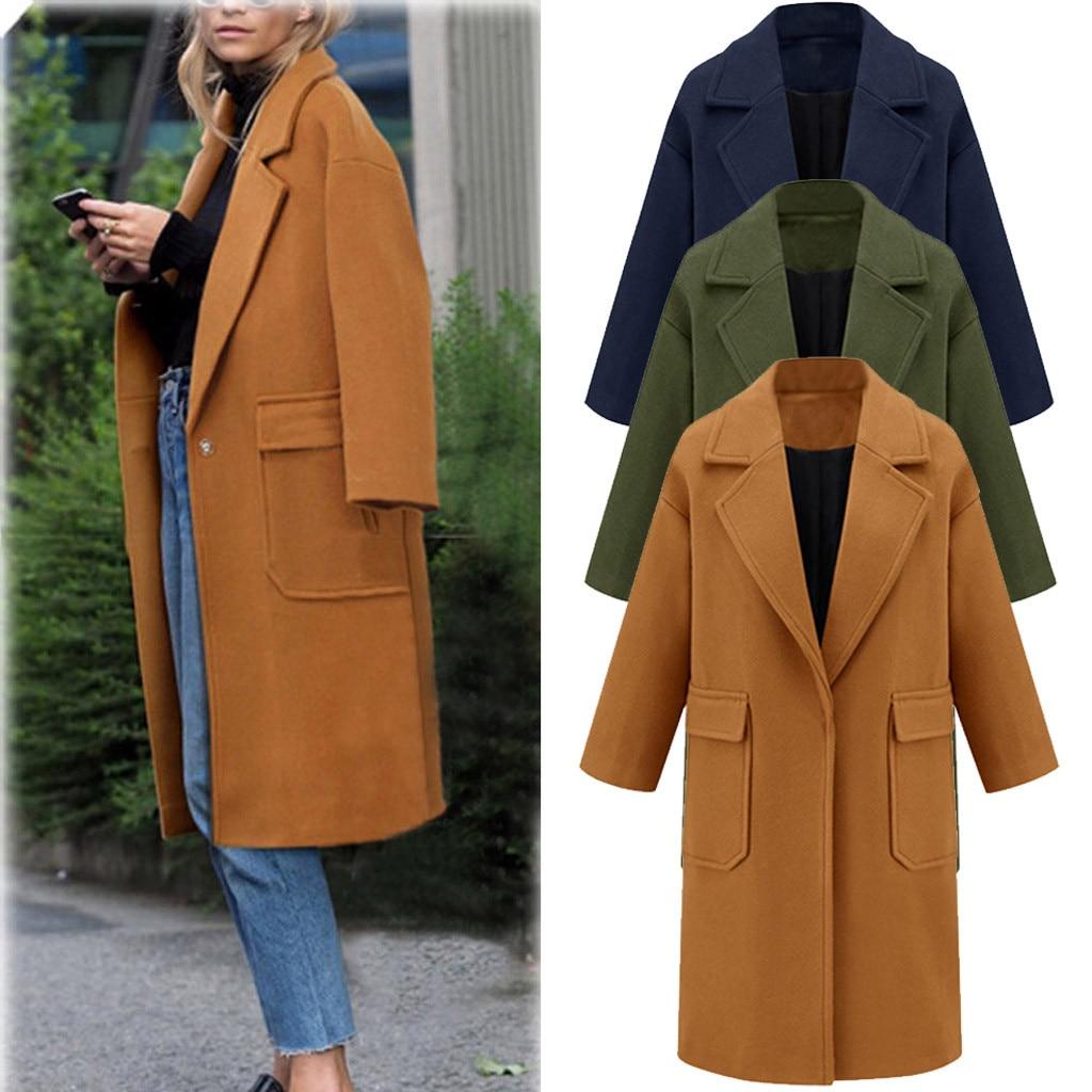 Femme hiver chaud laine revers long manteau Trench épais Veste Pardessus Outwear