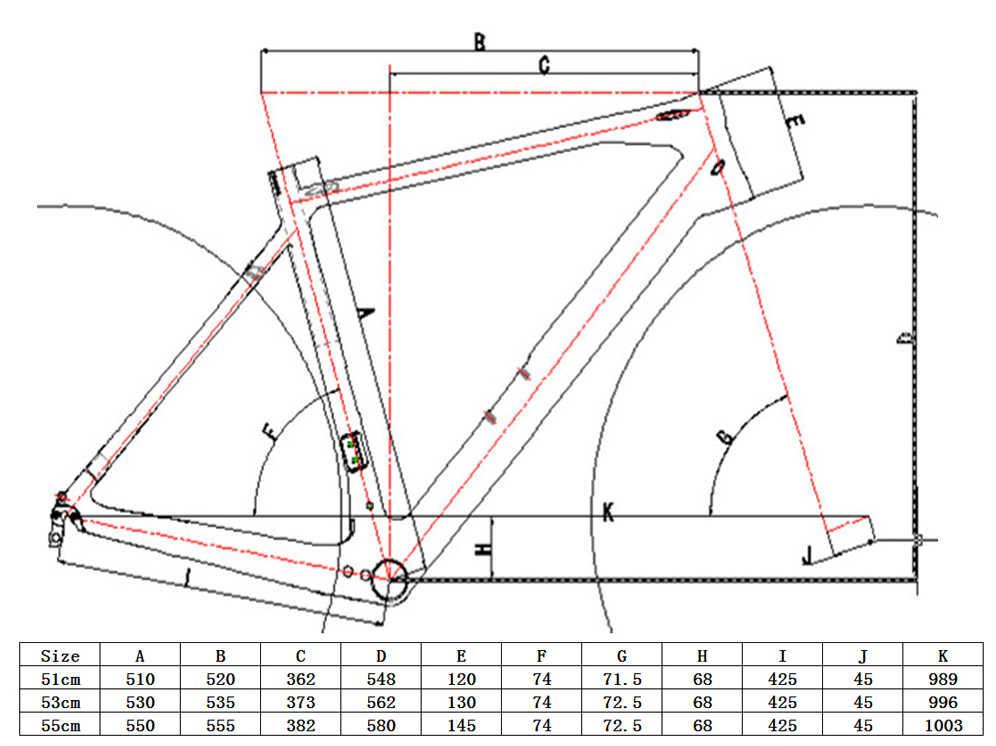 FR-603 Hoge Kwaliteit Nieuwe Full Carbon Cyclocross Fiets Frame Toray Carbon Fiets Cyclocross Schijfrem Frame 53cm & vork