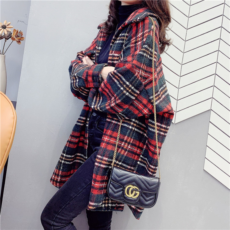 Plaid Shirt Girls Long Sleeve Shirt Loose Bf Women Harajuku Plus Size Windbreaker Basic Jacket Outerwear Large Sizes Boyfriend