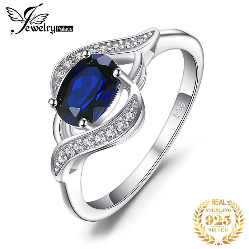 Jewelrypalace Created Blue Sapphire Ring 925 Sterling Silver Rings for Women Halo Engagement Ring Silver 925 Gemstone Jewelry