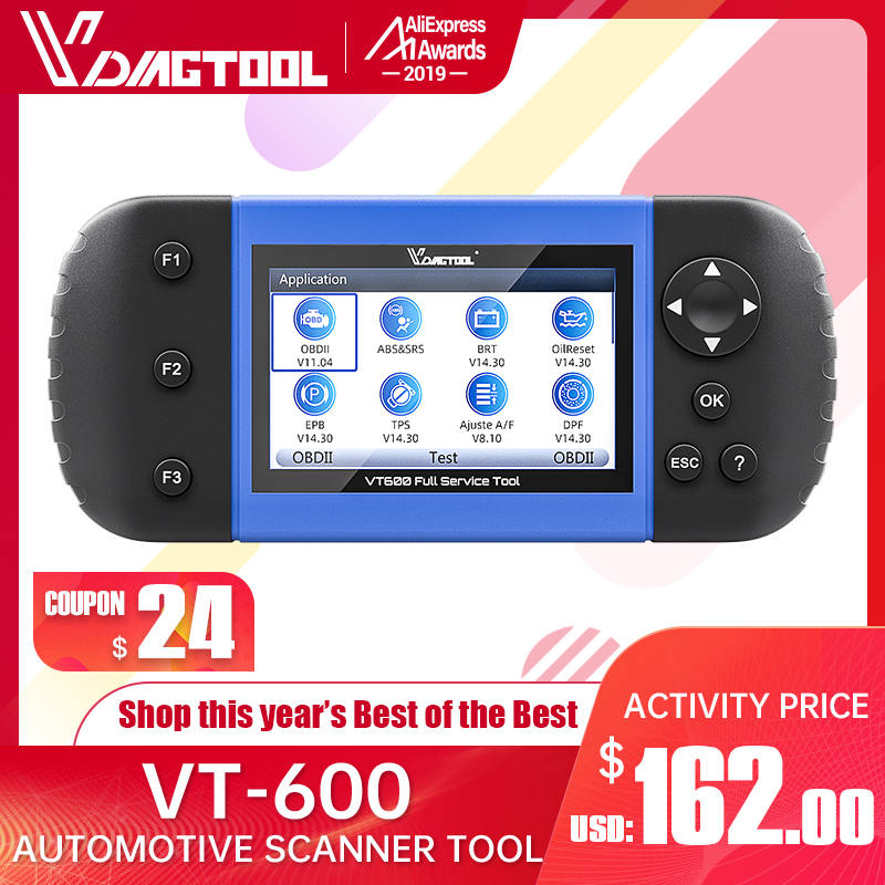 VDIAGTOOL VT600 OBD2 Automotive Scanner Tool Engine ABS SRS EPB Oil Service Reset Injector Coding OBDII Car Diagnostic
