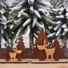 Christmas Decorations Wooden Mini Christmas Tree Deer Desktop Ornaments Merry Christmas Party Home Decor(China)