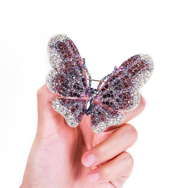 Tuliper брошь Butterfly Brooch For Women Animal Insect Pin Crystal Pendant Wedding Party Mujer Broche Femme Kpop Fashion Jewelryanimal rhinestone broochcrystal broochrhinestone brooch