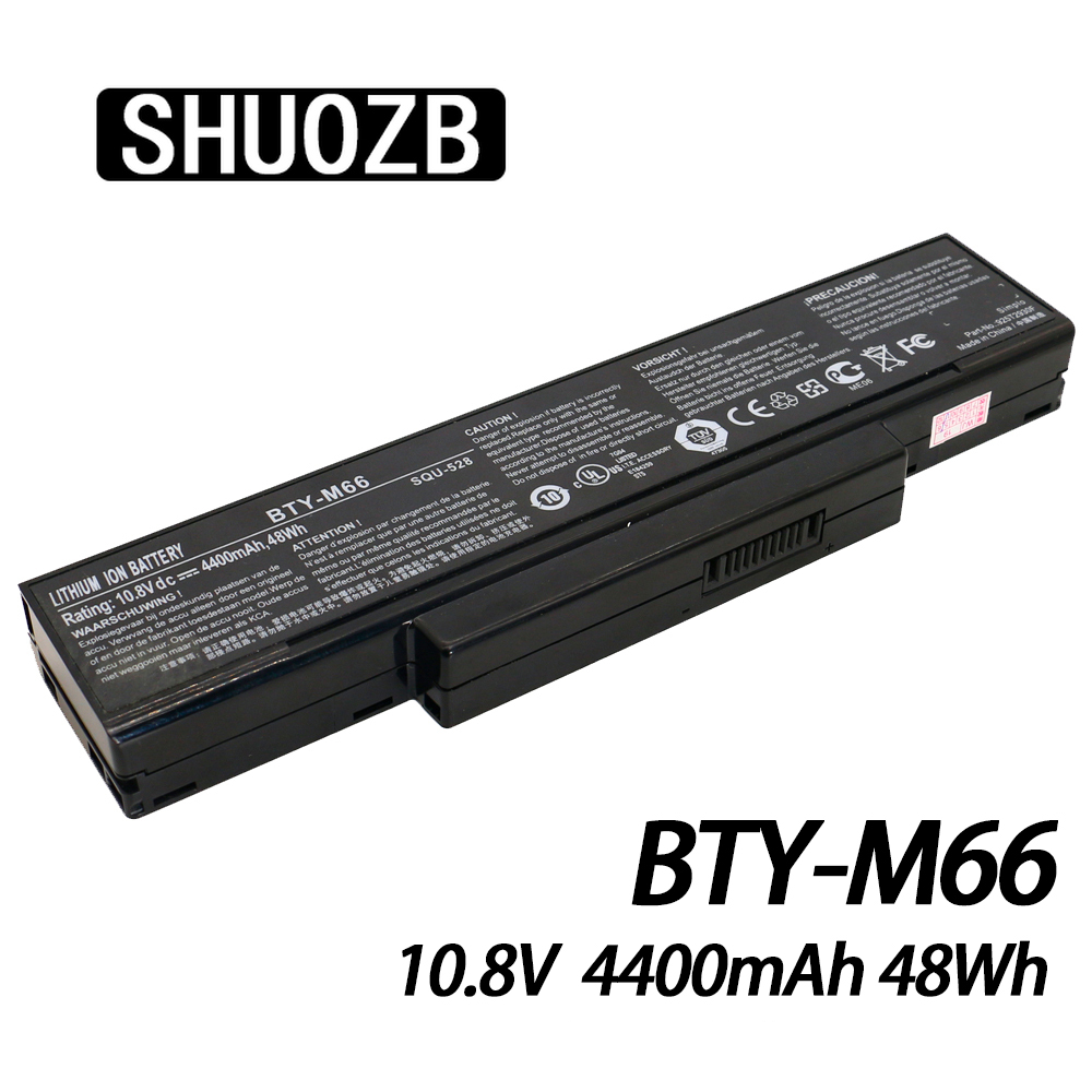 Laptop Battery BTY-M66 10.8V 4400mAh 48Wh For MSI SQU-528 M655 M660 M662 M670 M677 CR400 PR600 PR620 GX400 GX600 GX610 SHUOZB