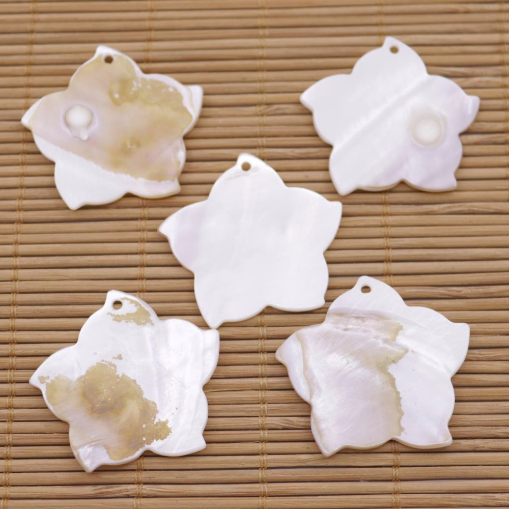 Купить с кэшбэком 5 PCS 35mm Shell Flower Natural White Mother of Pearl Loose Beads Pendant Making