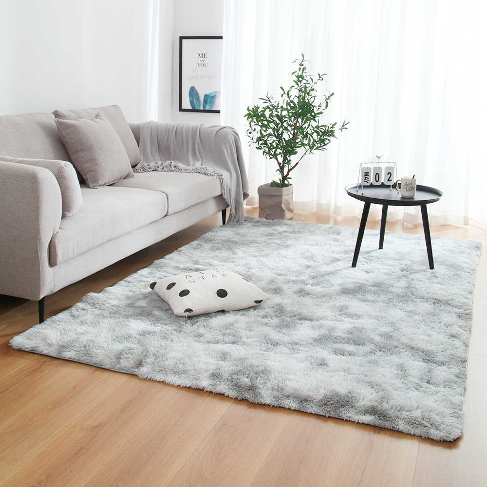 Grey Carpet Tie Dyeing Plush Soft Carpets For Bedroom Living Room Anti-slip Floor Mats Bedroom Water Absorption Carpet Rugs