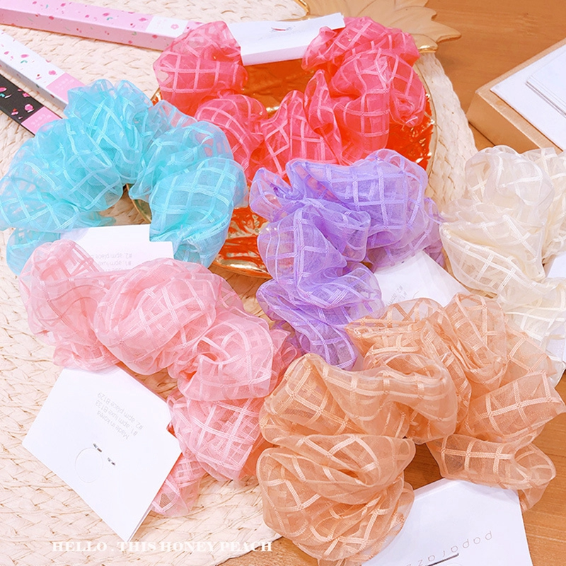 Organza Plaid Hair Scrunchie Hair Ring Ties For Girls Ponytail Holders Hair Bands Elastic Hairband Hair Accessories Headwear