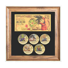 5PCS Gold Coins Set Banknote with Wood Frame Case Japanese Challenge Coins Dragon Ball Anime Coins Collectibles Giift for Men(China)