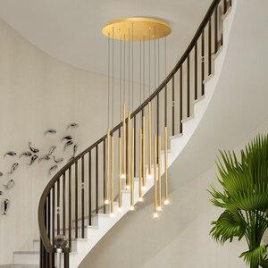 Image 4 - أسود/الذهبي الحديثة LED أضواء الثريا لغرفة الطعام المعيشة دوبلكس الدورية الدرج قابل للتعديل مصباح كبير جديد معلق