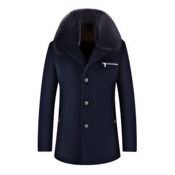 2020 New Winter Thick Warm Lining Coats Fashion Solid Fur Collar Outerwear Casual Single Breasted Pocket Zipper Long Woolen Coat
