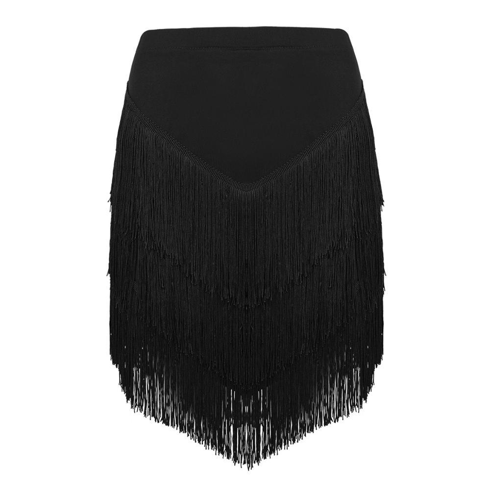 New Women Elastic Waist Fringe Tassels Asymmetric Latin Dance Skirt Ladies Tango Rumba Ballroom Dancewear With Built-in Shorts