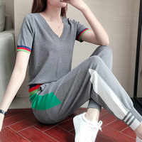 Women Tracksuit 2 Piece Set Gray Knitted T-shirt+Pants Two Piece Female 2020 Summer Fashion Casual Sweat Suits Tops Tracksuits