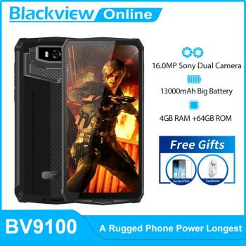 Blackview BV9100 IP68 Rugged Smartphone 6.3'' FHD 13000mAh 30W Fast Charge 4GB+64GB 16.0MP Mobile Phone Android 9.0 NFC - discount item  30% OFF Mobile Phones