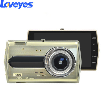"4 "" HD Car Dash Cam Mirror Camera Night Vision Double Lens Reverse Image Metal 1080P for Android Microfilm Automobile DVR GD4"