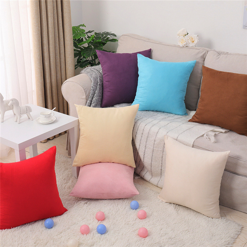 Direct Sales Fashion Customizable Suede Fabric Colorful Pure Pillow Case Car Chair Cushion Cover For Sofa Home Decor 40x40 45 50
