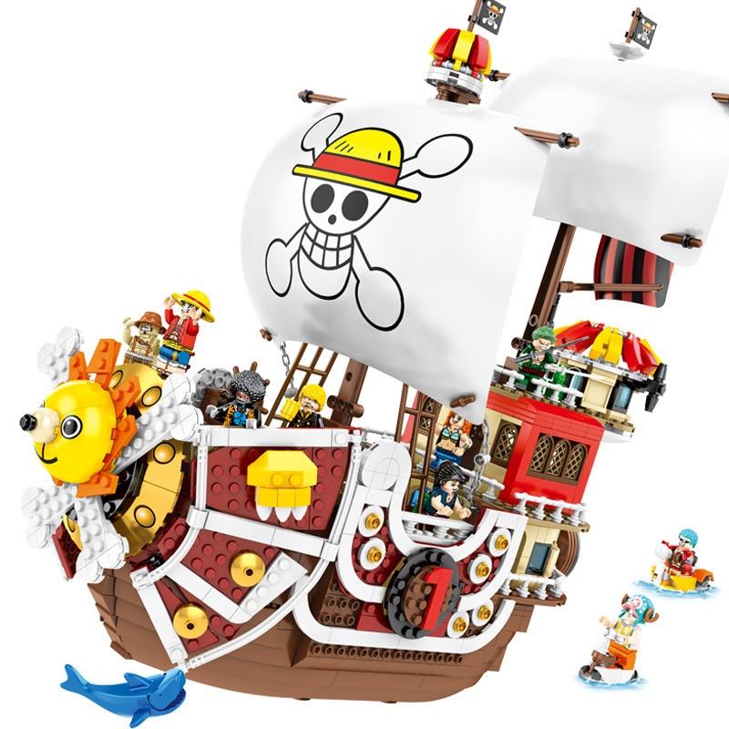 NEUE ONE PIECE Affe D. Luffy Thousand Sunny Piraten Schiff Bausteine Bricks Classic Modell Kinder Spielzeug Kompatibel Legoinglys