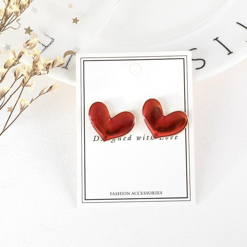 Темпераментные контракт серьги-гвоздики в форме сердца капель эфирного масла глазурь серьги Лидер продаж ювелирные изделия аксессуары
