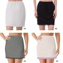 Skirts Petticoat Crinoline Lace Commuter Half-Slip White Women Elastic-Waist Milk-Silk