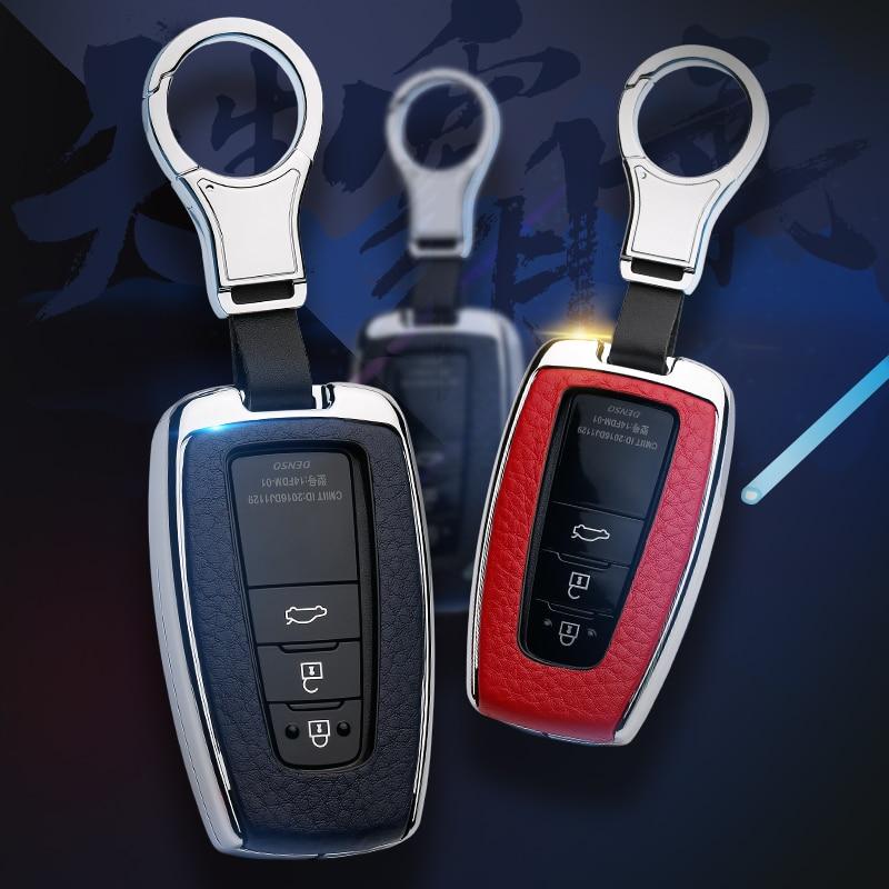 cheapest Car Aluminium Alloy Key Holder Cover Case Shell For Toyota Camry Corolla C-HR CHR Prado RAV4 Prius  2018 2019 2020 2 3 4 Buttons