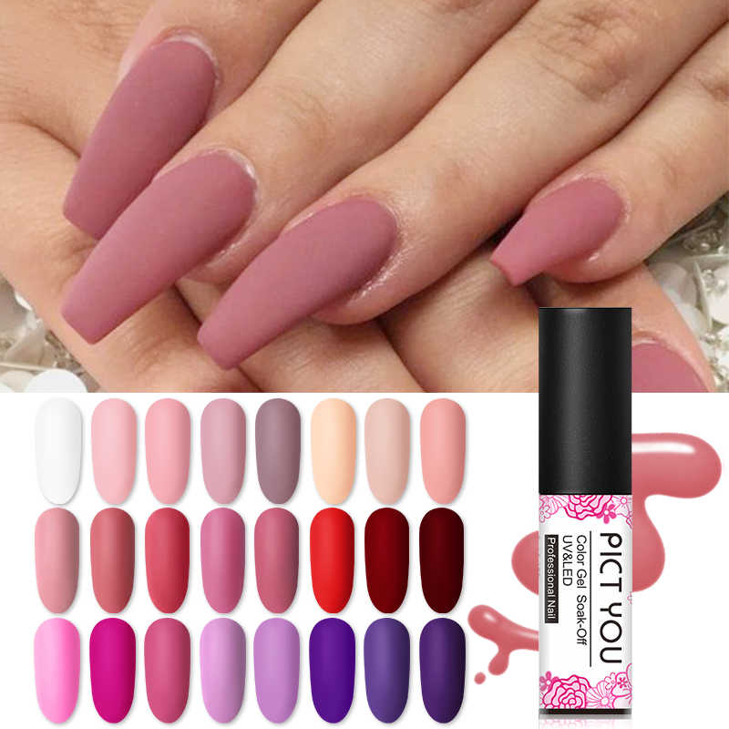 Pict You 5m Matte Uv Nail Gel Polish Pink Black 45 Colors