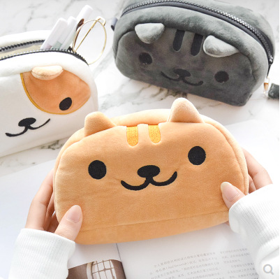 Cute Cartoon Kitty Cat Large Capacity Plush Pencil Bag Pouch Case Pencilcase Stationery Organizer For School Student Gift