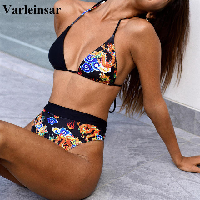 Splicing High Waist Bikini 2020 Halter Female Swimsuit Women Swimwear Two-pieces Bikini set Bather Bathing Suit Swim Lady V2400
