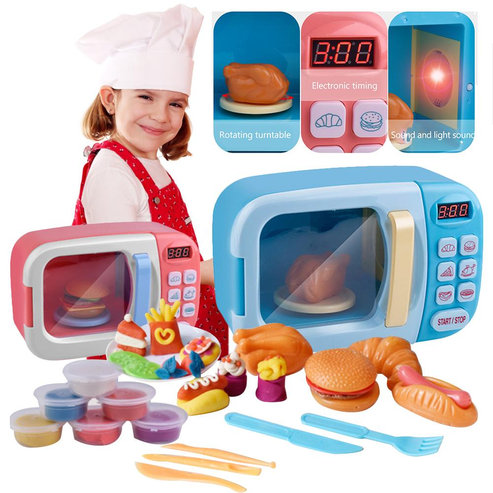 Microwave Oven Light Sound Boys Girls Kids Children Toy Mini Kitchen Appliance
