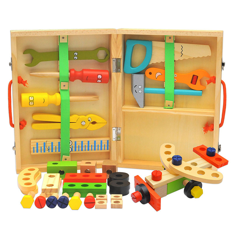 Kids Wooden Toolbox Pretend Play Set Educational Montessori Toys Nut Disassembly Screw Assembly Simulation Repair Carpenter Tool 3