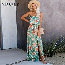 Yissang imprimir verão maxi vestido longo das mulheres fora do ombro babados split praia senhoras vestidos strapless vintage elegante