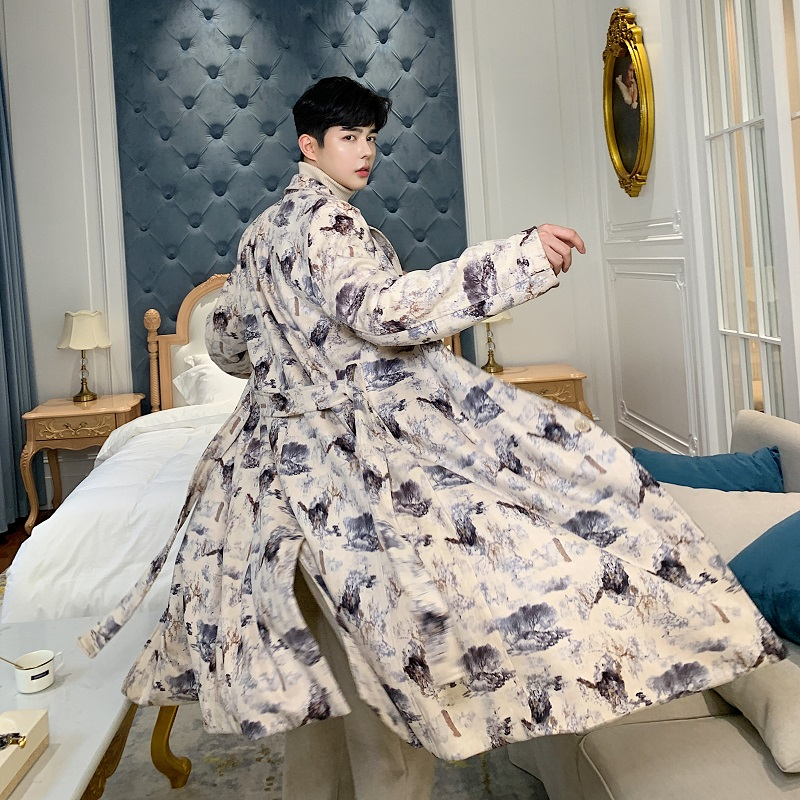 Men Vintage Fashion Print Loose Long Jacket Trench Coat Male Women Streetwear Hip Hop Windbreaker Casual Overcoat