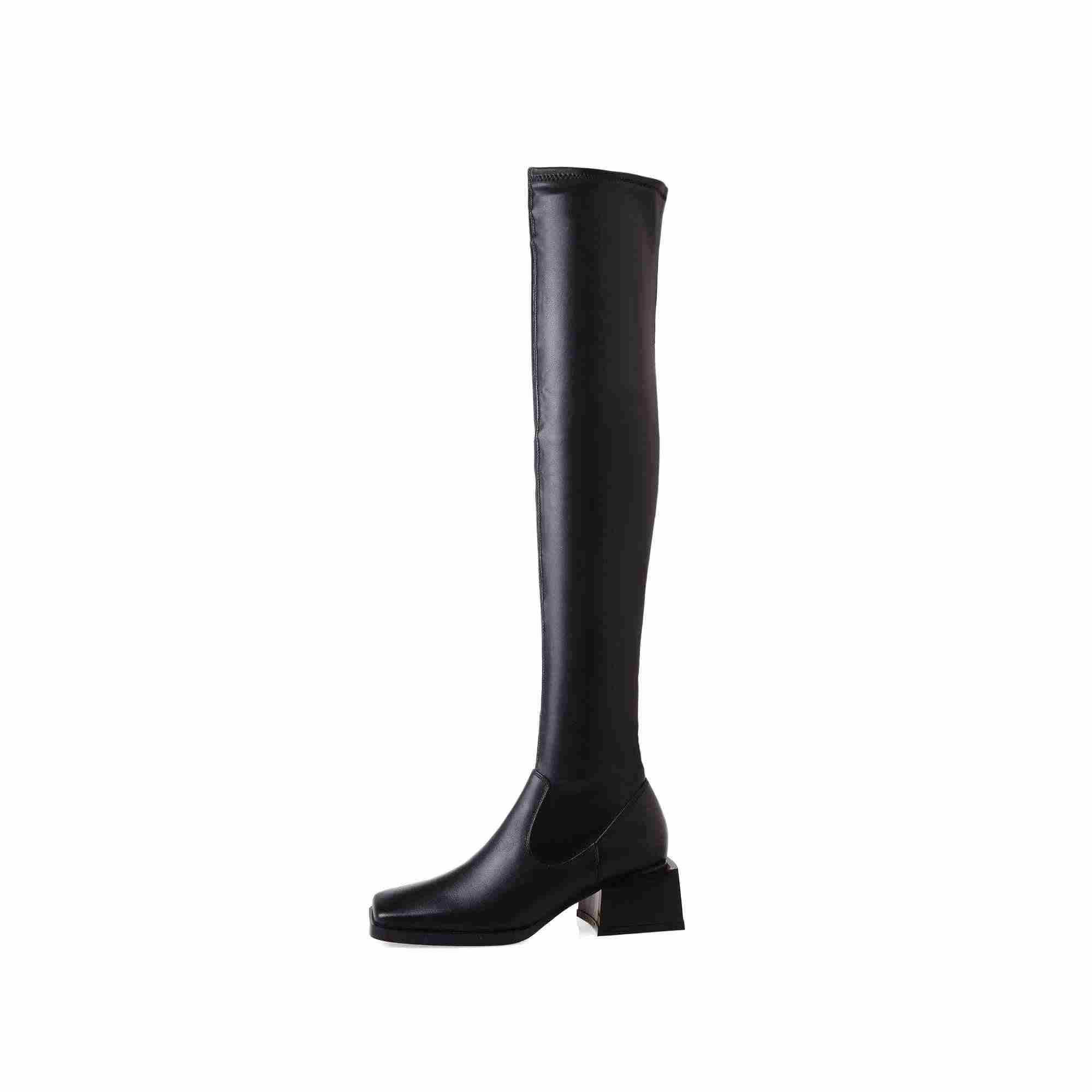 Lenkisen einfache stil mode karree stretch stiefel high heels schwarz farben täglichen verschleiß winter frauen über-die- knie stiefel L87