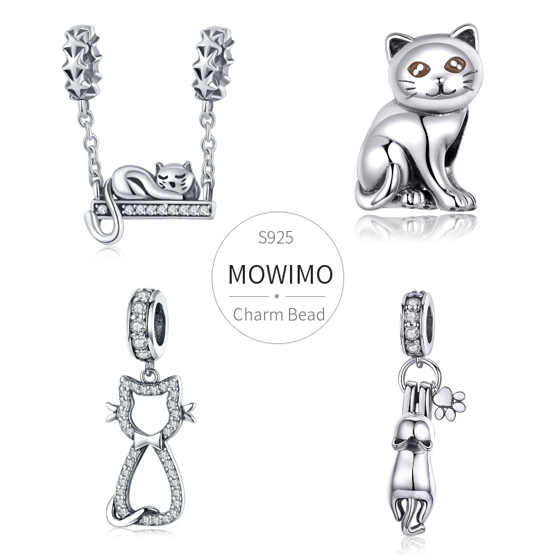 MOWIMO Fashion 925 Sterling Silver Kitty Cat CZ Bead Lovely Charm Fit Original Silver Bracelets Pendant For Women Jewelry Gift(China)