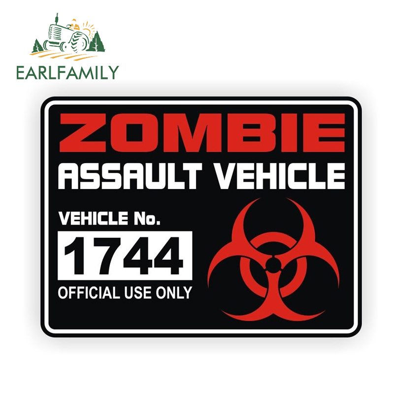 EARLFAMILY 13cm x 9.71cm ZOMBIE Assault Vehicle License Classic Car Stickers Motorcycle Decals Vinyl Bumper Rear Windshield