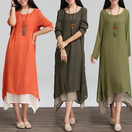 2020 New Fashion Women Lady Long Sleeve Increase Size Retro Cotton Hot Women Linen Art Style Kaftan Dress