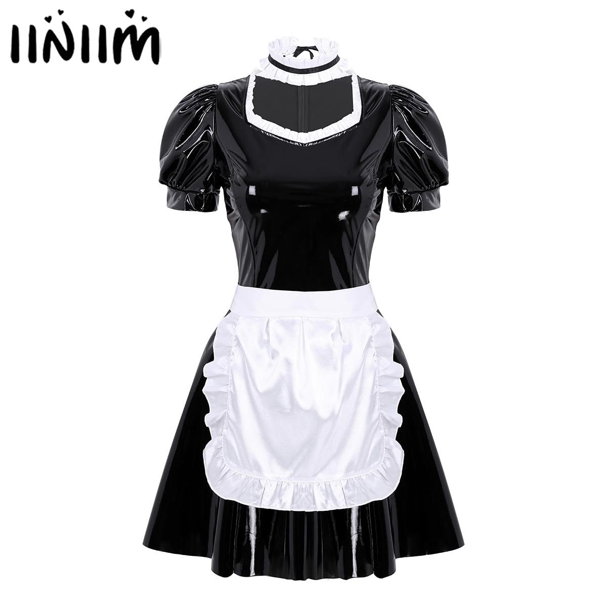 French Maid Dress Apron Cosplay Costume Sexy Clubwear Adults Women with Headband Puff-Sleeve
