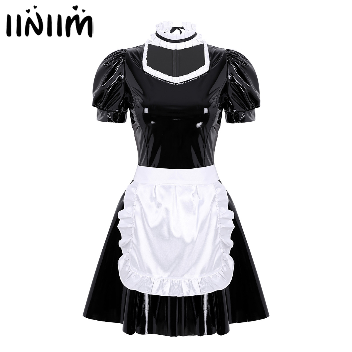 Women Adults French Maid Cosplay Costume Sexy Female Clubwear Puff Sleeve A-line Patent Leather Dress With Apron And Headband