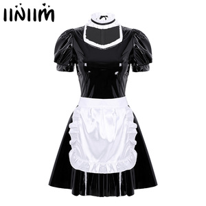 Women Adults French Maid Cosplay Costume Sexy Female Clubwear Puff Sleeve A-line Patent Leather Dress with Apron and Headband(China)