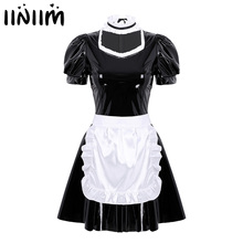 Womens Adults French Maid Cosplay Costume Sexy Female Clubwear Halloween Puff Sleeve A Line Leather Dress with Apron Headband