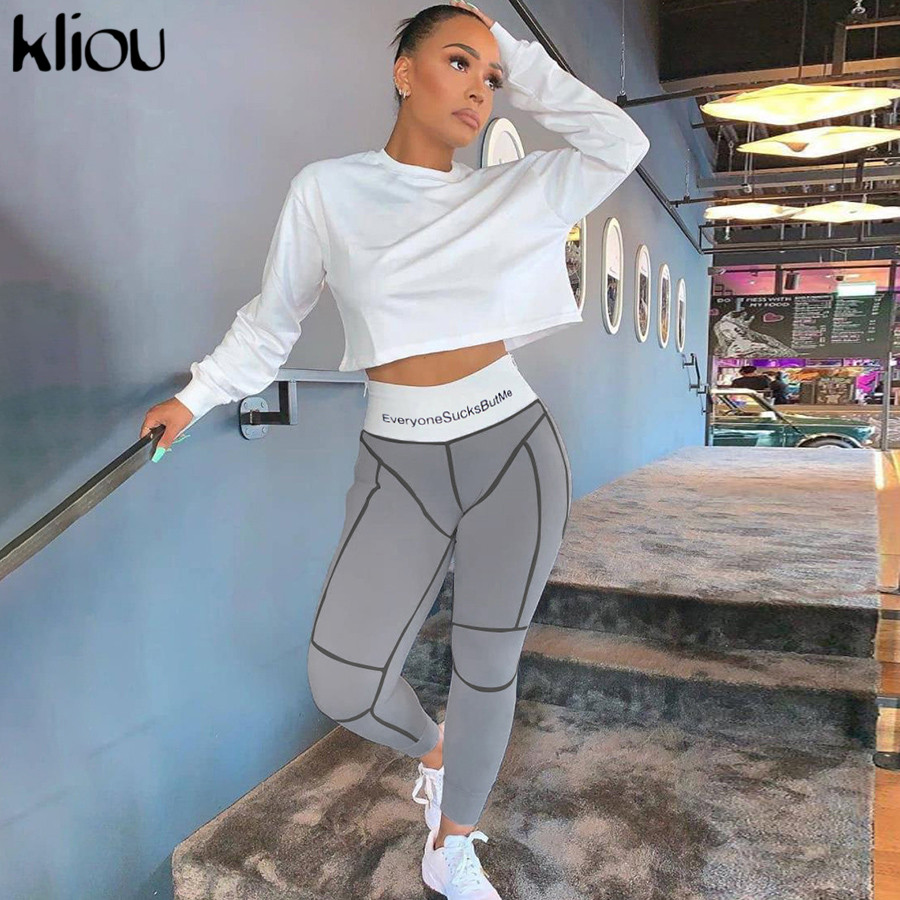 kliou 2019 high waist letters print fitness leggings autumn winter women fashion patchwork striped streetwear sporty slim pants