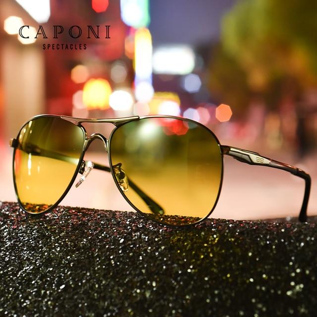 Очки солнцезащитные CAPONI мужские в металлической оправе, модные солнечные аксессуары для вождения, дневное и ночное видение, зеленого и желтого цвета, UV400, RY8722